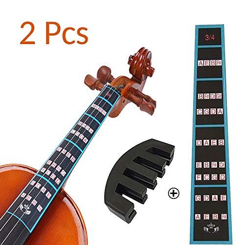 VCOSTORE Geige Griffbrett Aufkleber und Rubber Mute Pack, 4/4 Violine Geige Finger Griffbrett Aufkleber für Kinder und Anfänger