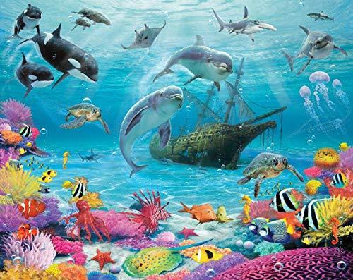 Puzzle De 1000 Piezas Para Adultos Fantasía Delfín Fondo Marino Tiburón Color Coral Uego Casual De Arte Diy Juguetes Regalo Interesantes Amigo Familiar Adecuado