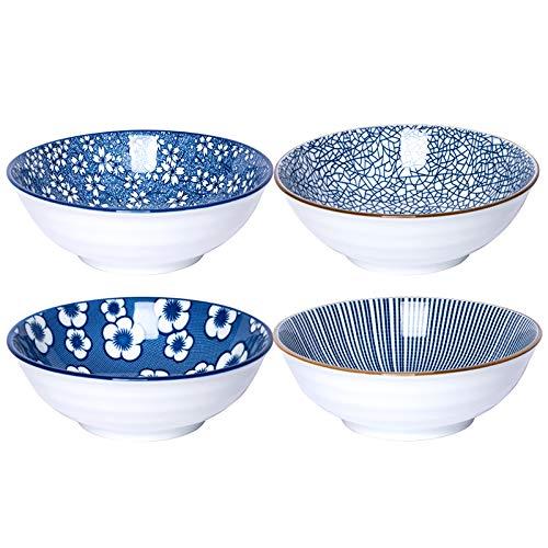 """Kylimate 6.1"""" Pasta Bowl Set,Set Of 4, 18OZ Porcelain Salad Bowls,Ceramic Bowls For Cereal, Dessert, Ice-cream. Four Classical Blue Patterns."""