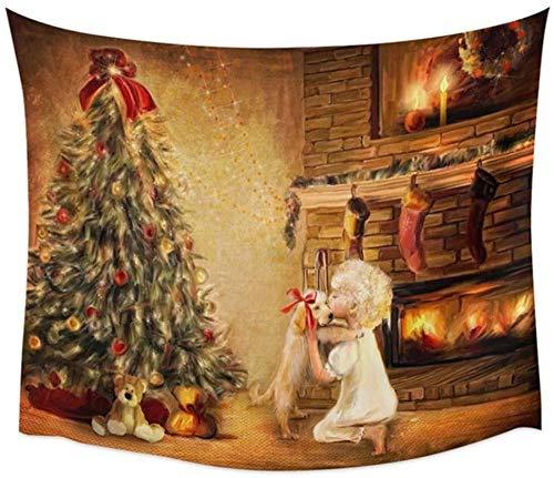 LDHHZ Tapiz Colgante de Pared Grande 3D Impresi¨n Multicolor Arte Decoraci¨n de Dormitorio en casa Tapices Indios ¨¢rbol de Navidad Belleza de Perro Mantel de Sala de Estar 200x150cm