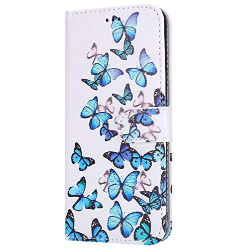 Hnzxy Coque iPhone 11 Pro Housse en Cuir PU avec Magnetique Flip Case Portefeuille Etui à Rabat pour iPhone 11 Pro Pochette Housse de Protection Support Fermeture,Papillon bleu