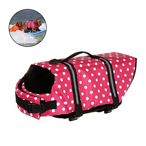 WEIJ Hond Leven Vest Verstelbare Riem, Huisdier Reflecterende Saver Bewaarder Leven Jack, Veiligheid Hond Flotation Vest voor Zwemmen, Boating, Jacht, S, Pink dot