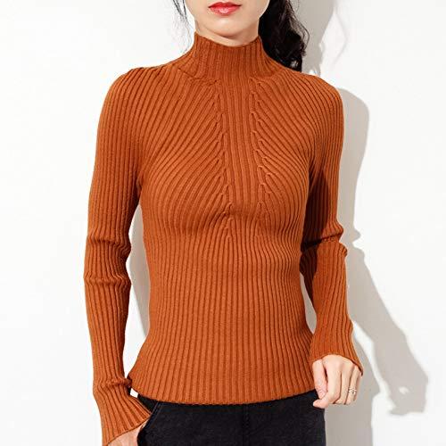 BINGSL Pullover,Herbstmode Frauen Damen Rollkragen weichen, dünnen Pullover ziehen Enge, lässige Strick Rippenpullover Kleidung