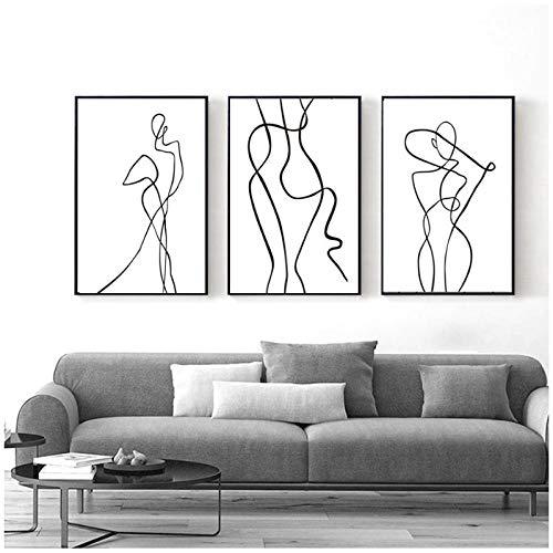xwwnzdq Abstrakte Minimalistischische Kurve Figur Schwarzweiss-Leinwand-Druck-Gemälde Wandkunst-Bild für Wohnzimmer-Wohnkultur 40x60cmx3 Ungerahmt