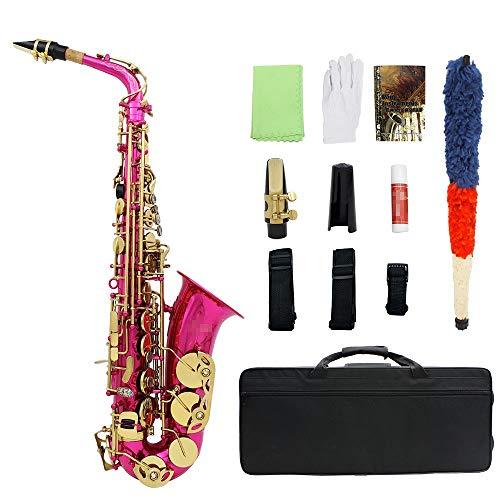 JenLn Alt-Saxophon E Wohnung Silberleitlack Alto Sax Anfänger mit Kork Sax Fall Pickup Tragegurt Paste usw. (Color : Rose, Size : 62x17x15cm)