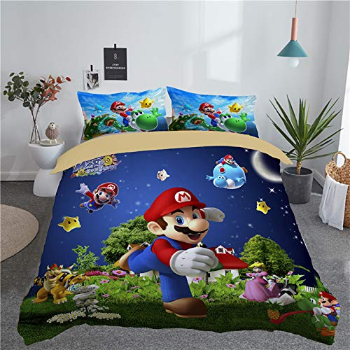 leibedding Queen Duvet Cover Super Mario for Kid or Adult 3D Duvet Cover Set (1 Duvet Covet 2 Pillow Cases)