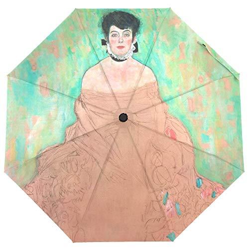 yui Es duradero Gustav Klimt paraguas de pintura al óleo para mujer, paraguas plegable automático para niña, portátil, pequeño, protección contra la lluvia, luz ultravioleta (color: artículo 3)