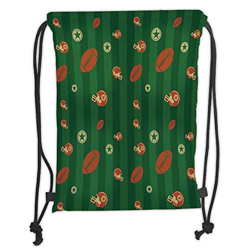 OQUYCZ Drawstring Sack Backpacks Bags,Football,Old Fashioned Composition with Green Stripes Rugby Icons Graphic,Green Hunter Green Cinnamon Soft Satin,5 Liter Capacity,Adjustable String Closur