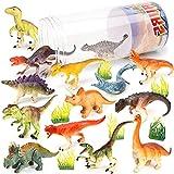 Vanplay 21 Piezas Juguetes Dinosaurios Tarta Cumpleaños Juguete con Cubo de Almacenamiento para Niños
