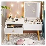 OMIDM Tocador Escritorio de Maquillaje con cajones para la Ventana de Dormitorio Dormitorio Dormitorio Pequeño tocador Moderno, Color: Blanco (60 cm) Tocador de Maquillaje