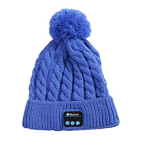 Cappello Uomo Donna Invernali ,Cappello musicale Bluetooth, cappello intelligente per auricolari per altoparlanti, berretto per auricolari bluetooth per esterni-blu_11,8x 8,3 pollici (30x21 cm)