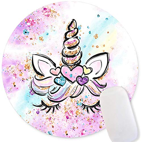 Mechanical Cattle Gaming Mouse Pad, Pink Purple Rainbow Unicorn Round Mouse Pad, Mouse Pad Small Size for Computers,Shiny Pattern Mouse Pads,Non-Slip Rubber Base Mousepad for Laptop,7.9 x 7.9 in
