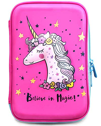 Unicorn Pencil Case For Girls | Cute Preschool, Kindergarten, and Elementary Pen Holder With Compartments |Toddler Pink School Zipper Pouch (Pink Unicorn)