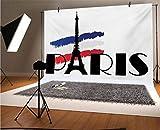 Doodle - Fondo de vinilo para fotos de 1,5 x 3 m, tipografía de París con figura de la Torre Eiffel y tono de la bandera de Francia, imagen de Europa para selfies, fotos de fiesta de cumpleaños