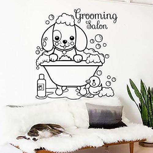 HGFDHG Salón de Belleza Etiqueta de la Pared Logo Perro de Dibujos Animados Tienda de Mascotas decoración de Interiores Puerta Ventana Vinilo Adhesivo Animal baño Arte Papel Tapiz
