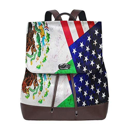 SGSKJ Rucksack Damen Mexiko USA, Leder Rucksack Damen 13 Inch Laptop Rucksack Frauen Leder Schultasche Casual Daypack Schulrucksäcke Tasche Schulranzen