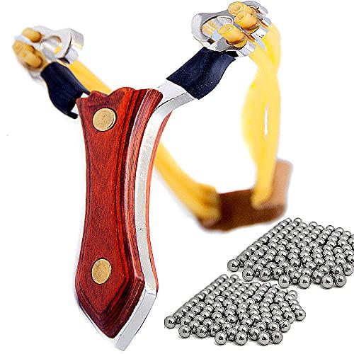 Profi Steinschleuder Zwille Holzgriff 100 Stahlkugeln Sportschleuder Schleuder, Ziele treffsicher ins Visier nehmen und Schuss, mit der Steinschleuder aus Stahl Macht das Anvisieren richtig Spass