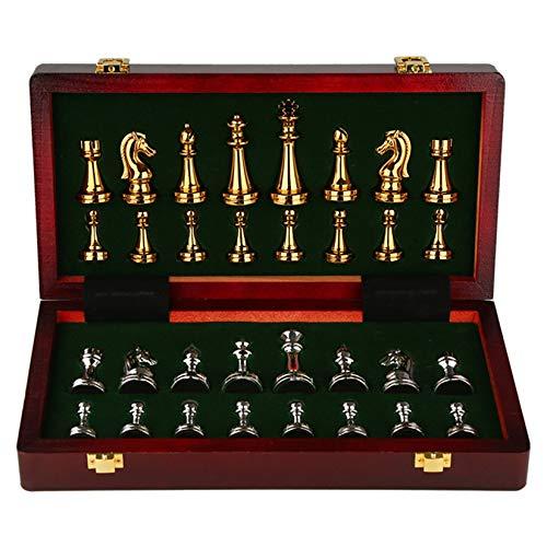 WYJJ Juego de ajedrez de Lujo de Metal, 30x30x2.8cm Juego de Mesa Caja de Madera portátil Almacenamiento Tablero Plegable Juego de ajedrez para niños Fiesta Actividades Familiares