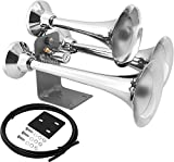 Vixen Horns Train Horn for Truck/Car. 3 Air Horn Chrome Plated Heavy Duty Trumpets. Super Loud dB. Fits 12v Vehicles Like Semi/Pickup/Jeep/RV/SUV VXH3318