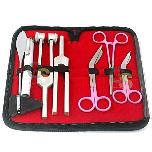 G.S 7 Pcs Reflex Percussion Taylor Hammer Penlight Tuning Fork C 256 C 512 + Lister Bandage Scissors Best Quality