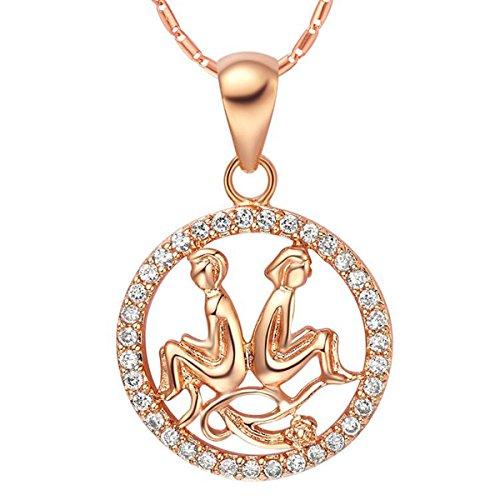 Autiga Sternzeichenkette Zwillinge, Damen Halskette mit Sternzeichen Anhänger, Zirkonias, vergoldet, rosègold