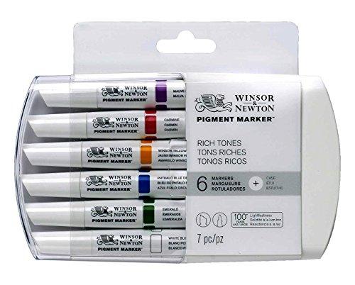 Winsor & Newton Pigment Markers - Pack de 6 rotuladores, tonos ricos