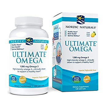 Nordic Naturals Ultimate Omega Lemon Flavor - 1280 mg Omega-3-120 Soft Gels - High-Potency Omega-3 Fish Oil Supplement with EPA & DHA - Promotes Brain & Heart Health - Non-GMO - 60 Servings