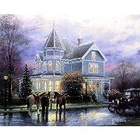 LovetheFamily 数字油絵 数字キット塗り絵 手塗り DIY絵 デジタル油絵 城 40 x 50 cm ホーム オフィス装飾