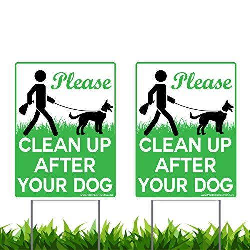 VIBE INK 9 x 12 Please Clean Up After Your Dog - No Pooping Dog Lawn Signs with Metal Wire H-Stakes Stands Included (2-Pack)