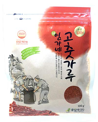 100% Premium Korean Origin Dried Red Pepper Powder Gochugaru Kimchi Spicy Chili Flakes 100g (3.5oz)