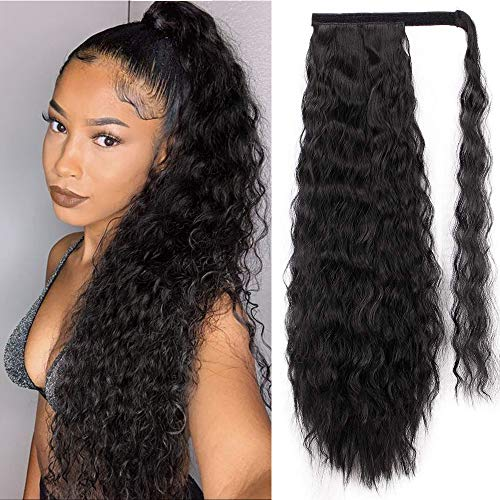 AISI BEAUTY Long Ponytail Extensions for Black Women Synthetic 22 inch Curly Wrap Around Black Ponytail Corn Wave...