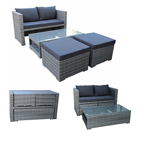 Funktions Loungeset FIORINO, 1x Sofa, 2x Hocker, 1x Glastisch, Alu + Geflecht grau, mit Polstern regenfest