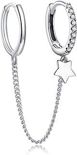 Pendientes de aro con cadena larga colgante, plata de ley 925, joya para mujeres y niñas, borlas, bisutería hipoalergénica