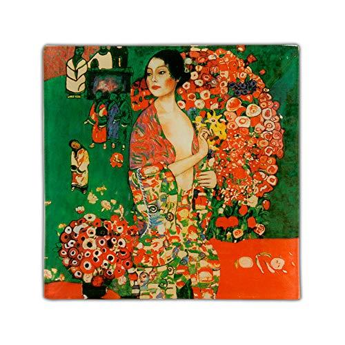 Carmani - Piatto Quadrato di Vetro con 'Danza' di Gustav Klimt 13x13cm