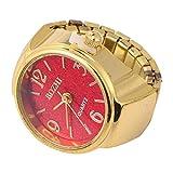 Baluue Women Men Finger Watch Vintage Ring Watch Round Quartz Analog Finger Ring Watch for Birthday Graduation Red