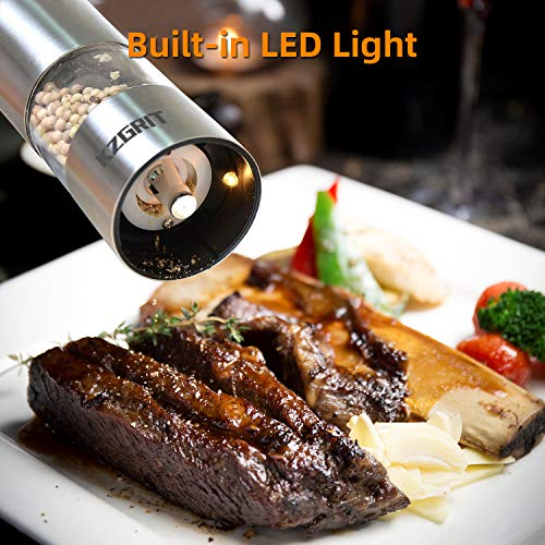 KZGRIT Electric Salt and Pepper Mill Set, Battery Operated, Ceramic Grinding Blade, Automatic Stainless Steel Grinders Shakers with LED Light and Adjustable Coarseness(2 Pack, Silver)