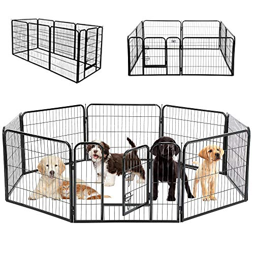 """Heavy Duty Pet Playpen 8/16 Panels 32"""" Folding Metal Dog Exercise Pen Extra Large Indoor Outdoor Dog Fence with Door Dog Crate Cage Kennel Pet Enclosure for Small-Large Animals"""