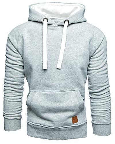 Amaci&Sons Herren Basic Kontrast Kapuzenpullover Sweatjacke Pullover Hoodie Sweatshirt 1-04027 Hellgrau XXL