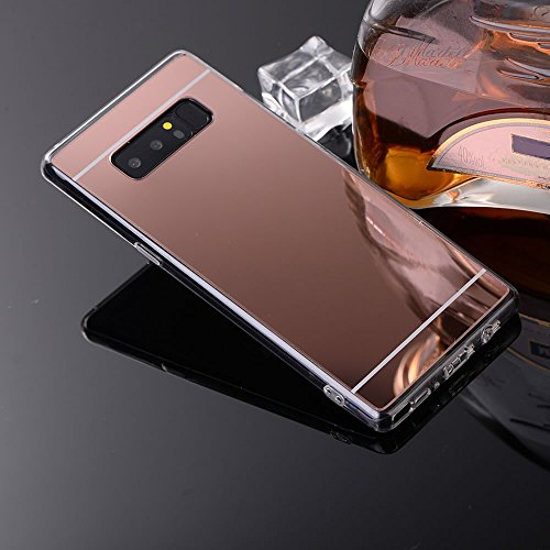 Sycode Coque Galaxy Note 8,Galaxy Note 8 Silicone Housse,Ultra Mince Doux Coque en Effet Miroir pour Samsung Galaxy Note 8-Rose Or