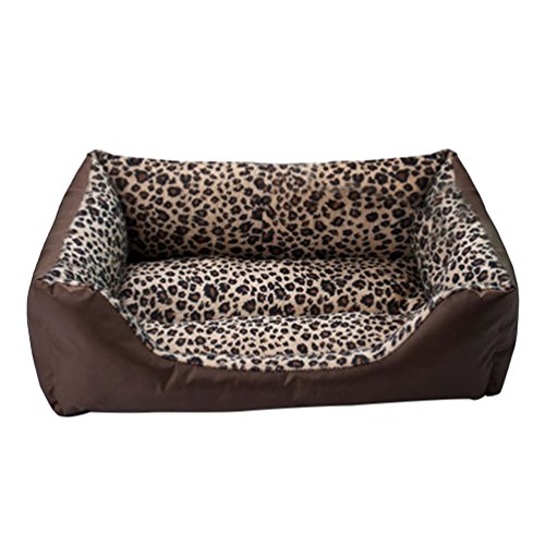 LvRao Letto per Animali Domestici Rettangolare Morbide Divani, Casa, Ceste, Casette per Cani, Gatti Invernale (Leopardo, 63 * 52 * 16CM)