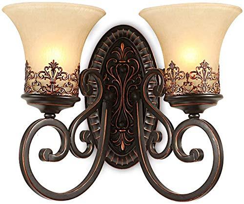 LLDKA Lampada da Parete in Bronzo portalampada Paralume in Vetro Rotondo Retro Lampada da Parete Creativa Semplice Epoca Nostalgia antichi