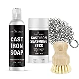 Culina Cast Iron Seasoning Stick & Soap & Stainless Scrubber & brush | All Natural Ingredients | Best for Cleaning, Non-stick Cooking & Restoring | for Cast Iron Cookware, Skillets