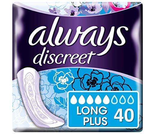 Always Discreet - Serviettes pour incontinence / fuites urinaires, Format éco x40 (plusieurs tailles / absorptions)
