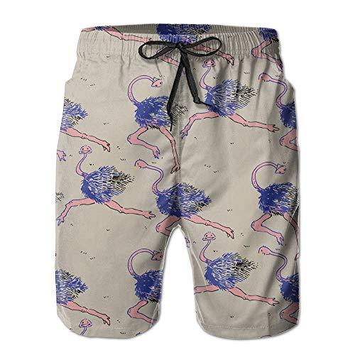 Modello da Running in Struzzo Viola da Uomo/Ragazzo Casual Pantaloncini da Bagno Costume da Bagno da Spiaggia con Elastico Pantaloni con Tasche,XXL