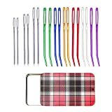 12 Pieces Yarn Needle, Tapestry Needle Bent Embroidery Needles Bent Tip Needles and 6 Pieces Large Eye Blunt Needles with Iron Box for Knitting Crochet (Random Color)