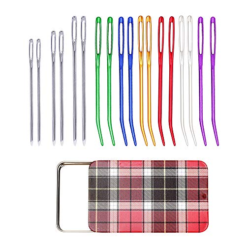 12 Pieces Yarn Needle, Tapestry Needle Bent Embroidery Needles Bent Tip Needles and 6 Pieces Large Eye Blunt Needles with Iron Box for Knitting Crochet