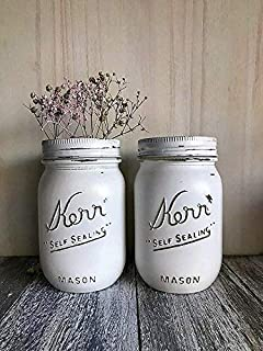 White Painted 16 Ounce Pint Size Mason Jar Decor Bridal Shower Centerpiece