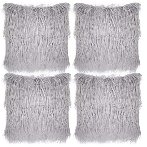Aneco Pack of 4 18 x 18 Inches Faux Fur Throw Pillow Covers Fluffy Pillow Covers Fuzzy Cushion Cover Soft Plush Throw Pillows for Couch Sofa Bedroom, Grey