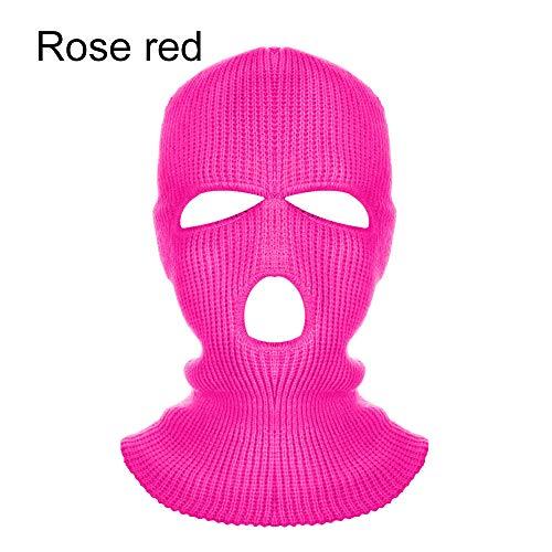 SHUHANX Army Tactical Mask 3 Loch Vollmaske Skimaske Wintermütze Sturmhaube Motorrad Motorradhelm Vollmaske Helm-Rose_Redes Ist Nützlich Für Bewegung Im Freien Im Winter.Es Ist Weich, Besonders En