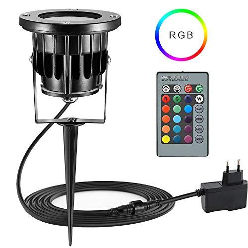 BLOOMWIN Faretto LED da Giardino 12 W RGB con Picchetto Proiettore per Esterno 4 luminosità Impermeabile IP65